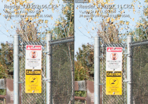 Canon 24-70mm mk I vs mk II @ f/11, focus on the sign